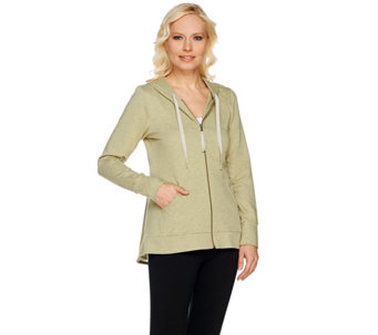 """As Is"" LOGO Lounge by Lori Goldstein Hoodie with Eyelet Godet - A285569"