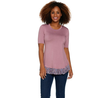 """As Is"" LOGO by Lori Goldstein Knit Top with Printed Chiffon Pleated Hem"