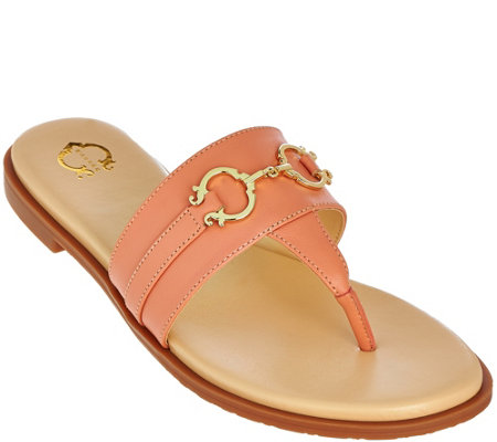 """As Is"" C. Wonder Leather Thong Sandals w/Hardware Annabelle"