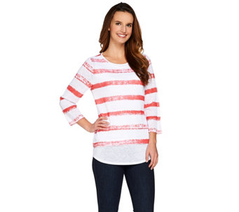 """As Is"" Women with Control Controlways Striped Print 3/4 Sleeve Top - A286769"