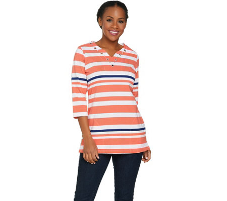 Quacker Factory Striped Grommet Split V-Neck Tunic with Pockets