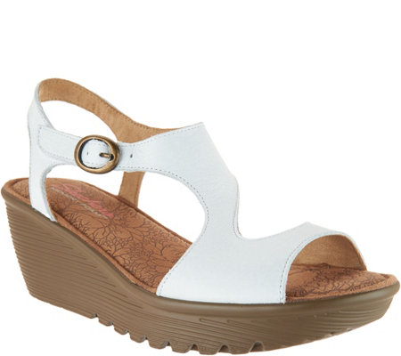 Skechers Leather Open Toe Cut Out Wedges Structure
