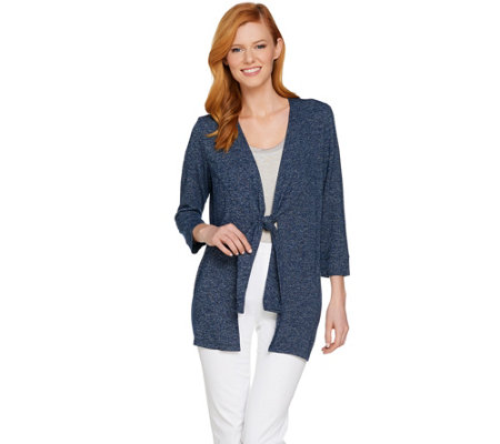 H by Halston Super Soft Knit 3/4 Sleeve Tie Front Cardigan