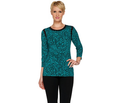 """As Is"" Susan Graver Printed Liquid Knit 3/4 Sleeve Top with Stud Detail"