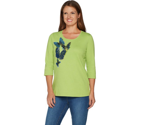 Quacker Factory Butterfly Party Sequin and Bead 3/4 Sleeve T-shirt