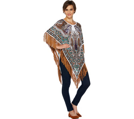 Attitudes by Renee Printed Fringe Sweater Poncho