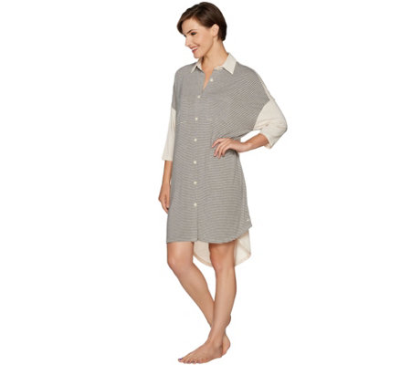 Cuddl Duds Softwear with Stretch Hi-Lo Sleep Dress with Collar
