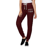 Peace Love World Comfy Knit Jogger Pants w/ Affirmation - A294969