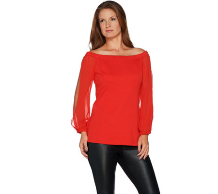 H by Halston Off the Shoulder VIP Ponte Top with Chiffon Sleeves