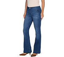 Hot in Hollywood Petite Silky Denim Flare Pull-On Jeans - A295669