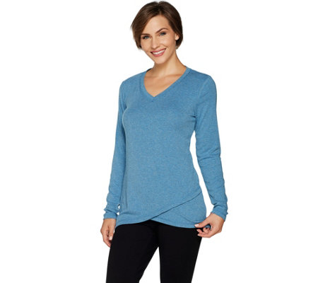 Isaac Mizrahi Live! SOHO V-neck Crossover Hem Long Sleeve Top