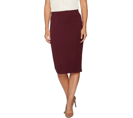 H by Halston Petite VIP Ponte Pull-on Knit Pencil Skirt
