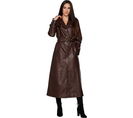 Dennis Basso Full Length Faux Leather Trench Coat