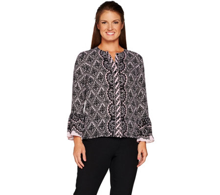 Bob Mackie's Lace Print Button Front Blouse with Flutter Sleeves