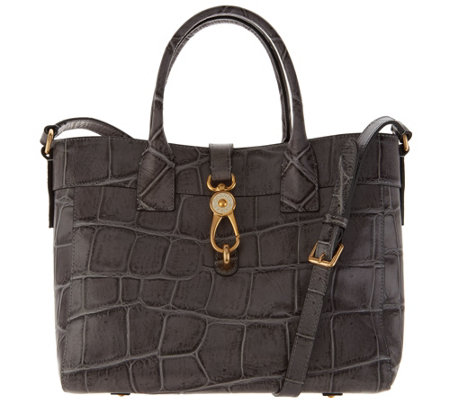 Dooney & Bourke Croco Embossed Leather Large Amelia Tote Handbag