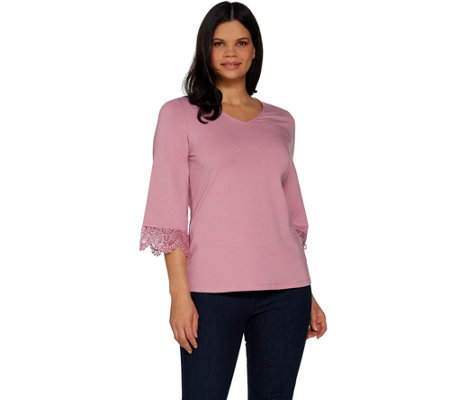 Denim & Co. V-Neckline 3/4 Bell Sleeve Top with Lace Detail