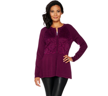 """As Is"" Isaac Mizrahi Live! Long Sleeve Crew Neck Lace Peplum Cardigan"