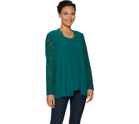 """As Is"" Susan Graver Textured Liquid Knit Cardigan & Tank Set with Lace"