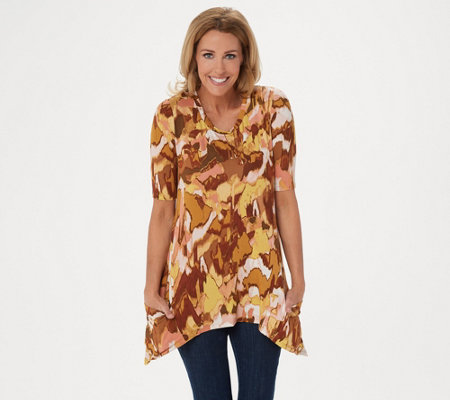 LOGO by Lori Goldstein Printed Knit Elbow Sleeve Top w/ Pockets