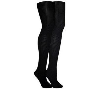MUK LUKS Women's 2-Pair Pack Ribbed Microfiber Tights - A330969