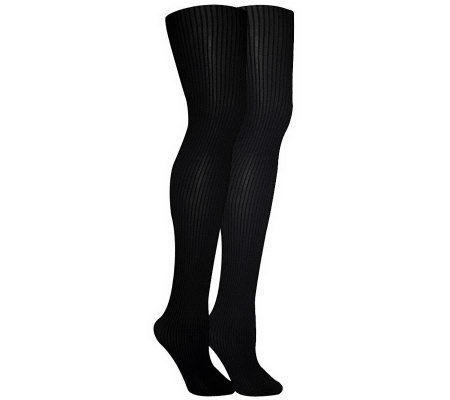 MUK LUKS Women's 2-Pair Pack Ribbed MicrofiberTights