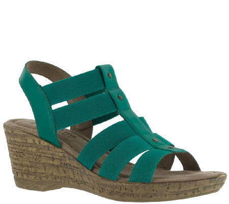 Bella Vita Fabric and Leather Wedge Sandals - Ravenna