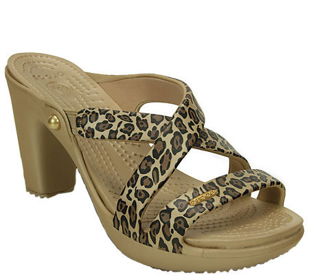 Crocs Croslite Slip-On Heel Sandals - Cyprus Leopard