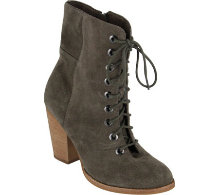 MIA Shoes Leather Granny Boots - Fontana