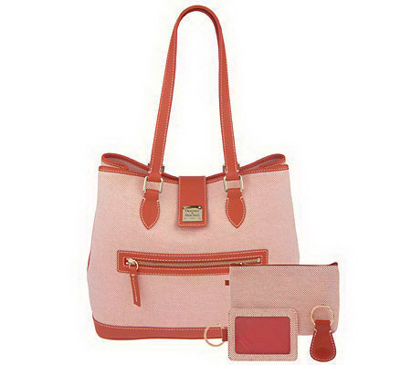 Dooney & Bourke Leather Trimmed Woven Tote with 3 Accessories