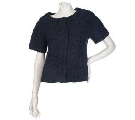 Motto Cropped Short Sleeve Crew Neck Cardigan - Page 1 — QVC.com