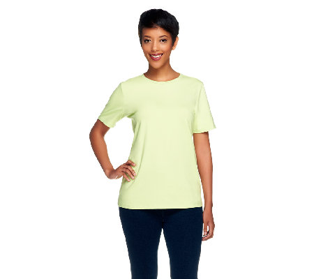 Denim & Co. Essentials Perfect Jersey Short Sleeve Crew Neck Top