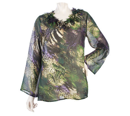 George Simonton Watercolor Print Blouse with Petal Trim