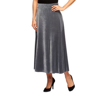 Susan Graver Stretch Velvet Pull-on 6 Gored Long Skirt - A219770