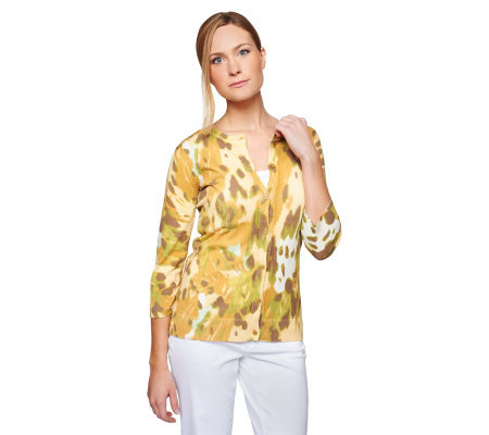 Isaac Mizrahi Live! Abstract Butterfly Print Cardigan