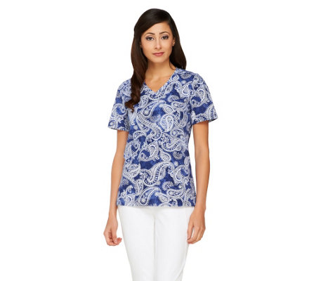 Denim & Co, Short Sleeve V-Neck Paisley Print Top