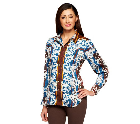 Status by Star Jones Printed Woven Button Front Shirt w/ Collar