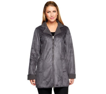 Denim & Co. Zip Front Faux Suede & Sherpa Mid Length Coat - A238370
