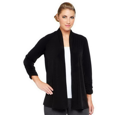"""As Is"" Susan Graver Liquid Knit Open Front Cardigan with Ruched Sleeves"