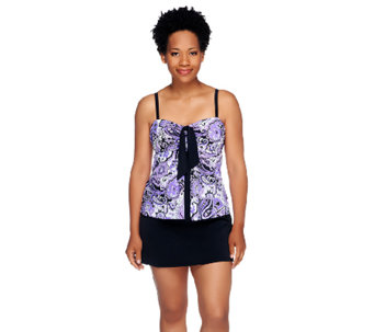 Fit 4 U Tummy Soho Paisley Swimsuit with Tie Front Top - A252570