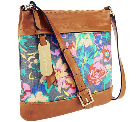 Emma and Sophia Floral Printed Canvas Georgia Crossbody with Tan Trim