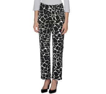 Susan Graver Heavy Liquid Knit Pull-on Full Length Printed Pants - A254070