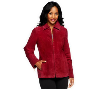 """As Is"" Dennis Basso Washable Suede Jacket with Pockets - A254170"