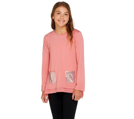 LOGO Littles by Lori Goldstein Handkerchief Top with Sequin Pockets