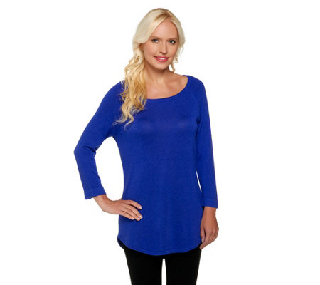 Isaac Mizrahi Live! Ballet Neck Sweater Tunic with Curved Hem