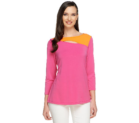 """As Is"" Susan Graver Liquid Knit 3/4 Sleeve Bateau Neck Top w/Cutout Detail"