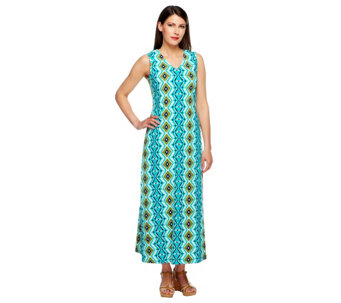 """As Is"" Denim & Co. Petite Sleeveless V-neck Print Maxi Dress - A260670"