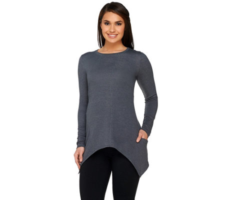 LOGO by Lori Goldstein Heather Knit Top with Sharkbite Hem
