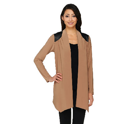 Joan Rivers Open Front Cardigan with Faux Leather Shoulder Detail