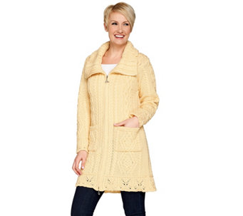 Aran Craft Merino Wool Butterfly Stitch Long Cardigan - A263770