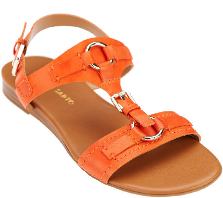 Franco Sarto Leather T-strap Sandals with Buckles - Gili